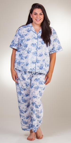 Women's Cotton Pajamas - Woven La Cera Blue Roses Short Sleeve PJs