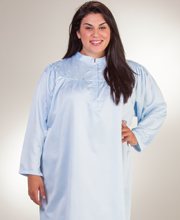Plus Kayanna Brushed Back Satin Long Mandarin Collar Nightgown  in Blue