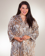 Plus Oscar de la Renta Zip Front Poly Satin Caftan In Cheetah Fancy