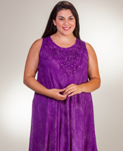Plus Beach Dresses - One Size Sleeveless Cotton Dress in Purple Batik