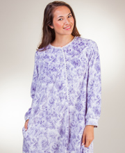 Lanz of Salzburg Microfleece Round Neckline Nightgown in Lovely Lilac
