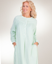 Women's Lanz Nightgowns - Round Neckline Cozy Fleece Gown in Seafoam