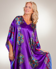 Plus Sante Beaded Satin Lounger Caftan - Purple Jazz