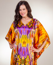 Long Sante Caftans - Satin One Size Fits Most - Rainbow Falls