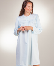 Brushed Back Satin Nightgown By Miss Elaine - Smocked Waltz in Blue