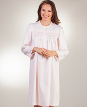 Nightgowns by Miss Elaine - Smocked Short Brushed Back Satin in Peach