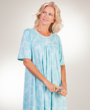 Calida Cotton Interlock Knit Short Sleeve Interlock Knit Nightgown in Aqua Paisley