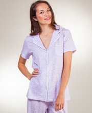 Cotton Pajamas - Carole Hochman Short Sleeve Knit PJs In Amethyst Vines