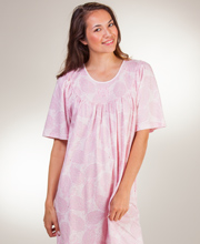 Calida Short Sleeve Interlock Cotton Knit Nightgown in Pink Paisley