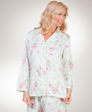 Carole Hochman Pajamas  - Brushed Back Satin PJs In Mint Rose