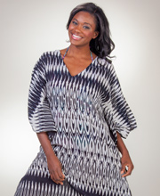 Long Cover-Up - 100% Cotton Semi-Sheer Breezy Beach Caftan in Tribal Art