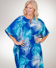Peppermint Bay Women's 100% Cotton Caftan One Size in Shaded Palms