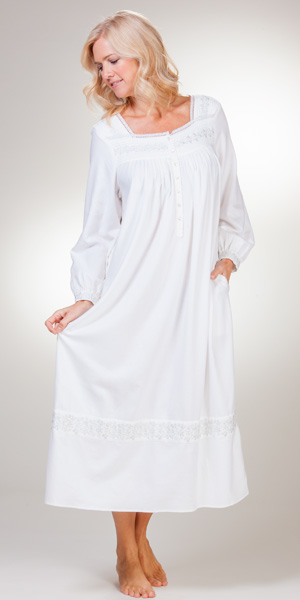 Long Eileen West Nightgowns White Long Sleeve Flannel Gowns