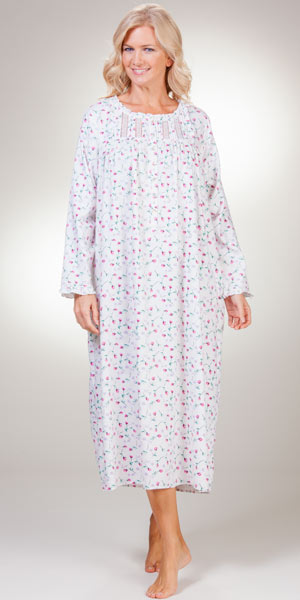 White Cotton Rich Nightgowns Eileen West Long Sleeve
