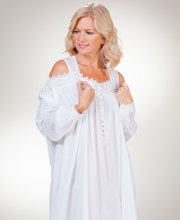 Eileen West Sleeveless White Nightgown and Robe Set in Luminesce