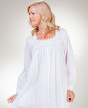 Eileen West Robe - Long Sleeve Button Down Nightgown in Luminesce