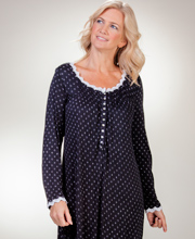Plus Eileen West MicroModal Knit Long Sleeve Mid Nightgown - Nocturne