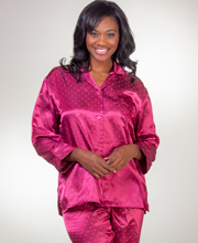 Heavenly Bodies by Miss Elaine Brushed Back Satin Pajamas - Divine Prints