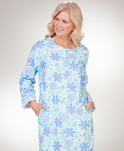 Cotton Flannel Nightgowns - La Cera Mid-Length Gown in Snowflakes