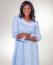 Long Nightgowns - Aria Light Cotton Flannel Long Sleeve Nightgown - Ditsy Blues