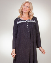 Aria Cotton Nightgowns - Long Sleeve Knit Gown In Starry Night