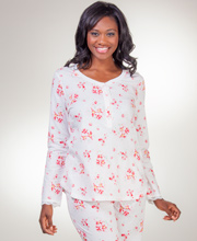 Carole Hochman Cotton Knit Long Sleeve Pajamas - Cherry Blossom