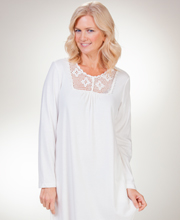 La Cera Cotton-Rich Long Sleeve Crocheted Neckline Nightgown - Ivory