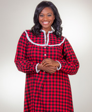 Flannel Nightgowns - Lanz of Salzburg Long V-Neck Nightgown in Scarlet