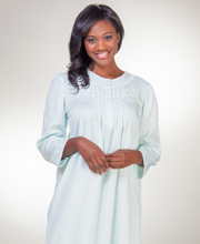 Miss Elaine Brushed Back Satin Round Neck Long Pintucked Nightgown - Mint