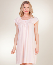 Miss Elaine Silkyknit Nightgowns - Short Smocked Flutter Sleeve in Peachy Pink