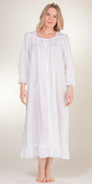 Eileen West Button Front Nightgown Long Sleeve White