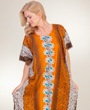 Cotton Kaftan - One Size Long 100% in Bronze Vine