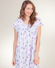 Eileen West Cotton Modal Nightgowns - Cap Sleeve in Grand Bloom
