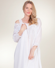 Eileen West Sleepwear - Cotton White Nightgown and Robe Set in Salinas