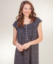 Eileen West Plus Nightgowns - Cap Sleeve Jersey Cotton - Secret Hearts