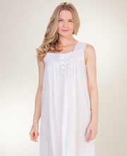 Eileen West Nightgown Long Womens - Sleeveless Eyelet Trim Cotton Gown in Aquamarine