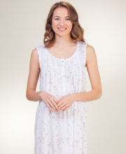 Sleeveless Eileen West Cotton-Modal Long Nightgown in Rose Delicate