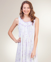 Cotton-Modal Eileen West Long Sleeveless Nightgown in Sweeping Floral
