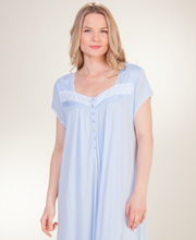 Plus Eileen West MicroModal Knit Short Sleeve Nightgown - Poetry Blue