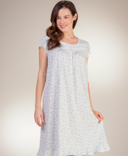 Eileen West Cotton Jersey Cap Sleeve Mid Nightgown in Enchant Mint