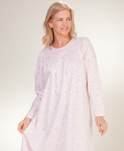 Calida Long Sleeve Cotton Knit Nightgown - Pink Willow