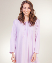 La Cera Knit Long Sleeve Ballet Nightgown - Lilac Maiden