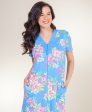 Miss Elaine Robes - Long Zip Front Knit Robe in Water Bouquet