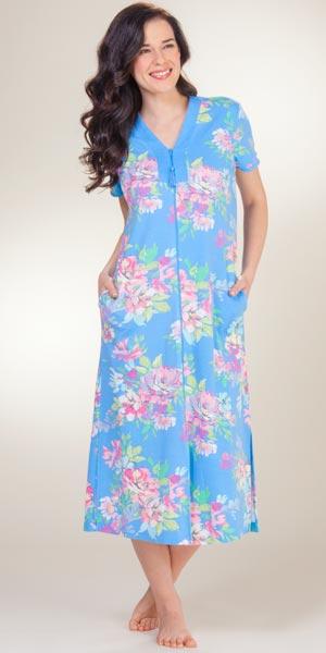 foto de Miss Elaine Plus Bathrobes Long Zip Front Blue Floral Robes