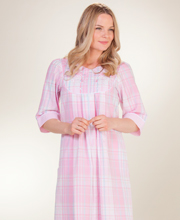 Plus Zip Front Robes - Miss Elaine Long Seersucker Robe in Candy Plaid