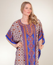 Caftans by Sante - Long Poly One Size Kaftan in Western Blooms