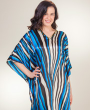 Sante Caftans - Womens Beaded Satin Kaftan Lounger - Royal River