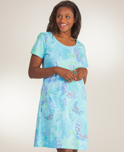 Cotton Beach Dress - I Can Too Short Sleeve Fish Tales Cover Up - Blue