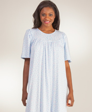 Calida Interlock Cotton Knit Short Sleeve Gown - Blue Willow