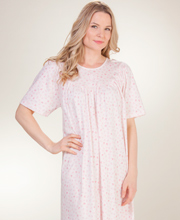 Calida Interlock Cotton Knit Short Sleeve Gown - Pink Willow